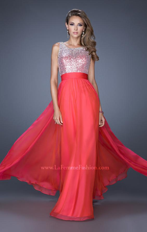 Picture of: High Scoop Neck Chiffon Dress with Sequin Fabric, Style: 19815, Detail Picture 3