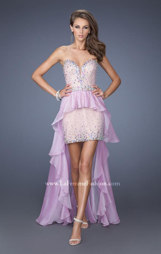 Picture of: Mini Dress with High Low Peplum Style Skirt in Purple, Style: 19816, Main Picture
