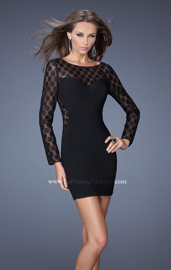 Picture of: Short Black Jersey Dress with Polka Dot Mesh in Black, Style: 19817, Main Picture