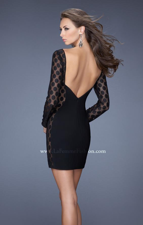 Picture of: Short Black Jersey Dress with Polka Dot Mesh in Black, Style: 19817, Back Picture