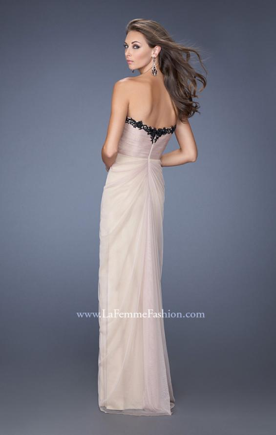 Picture of: Strapless Homecoming Dress with Jeweled Black Lace, Style: 19819, Back Picture