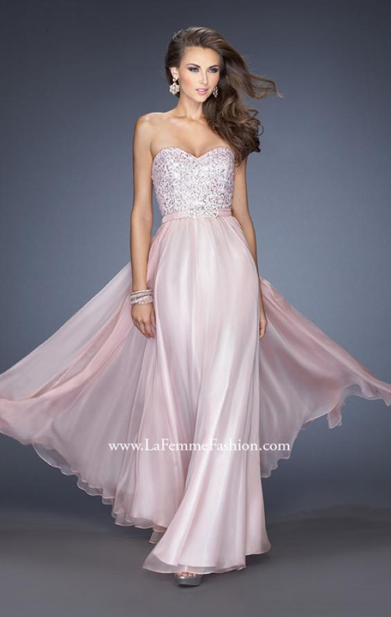 Picture of: Long Chiffon Prom Gown with Bedazzled Belt in Pink, Style: 19821, Main Picture