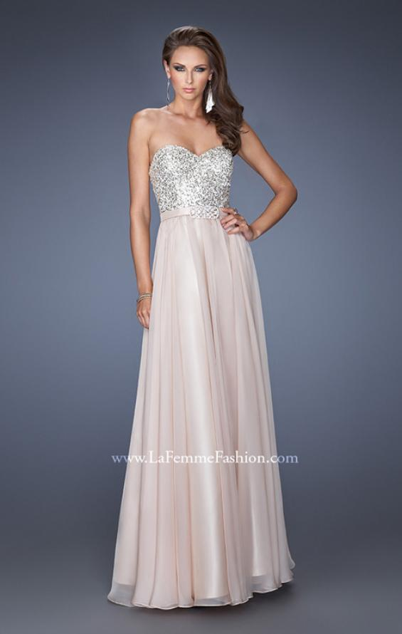 Picture of: Long Chiffon Prom Gown with Bedazzled Belt in Nude, Style: 19821, Detail Picture 1