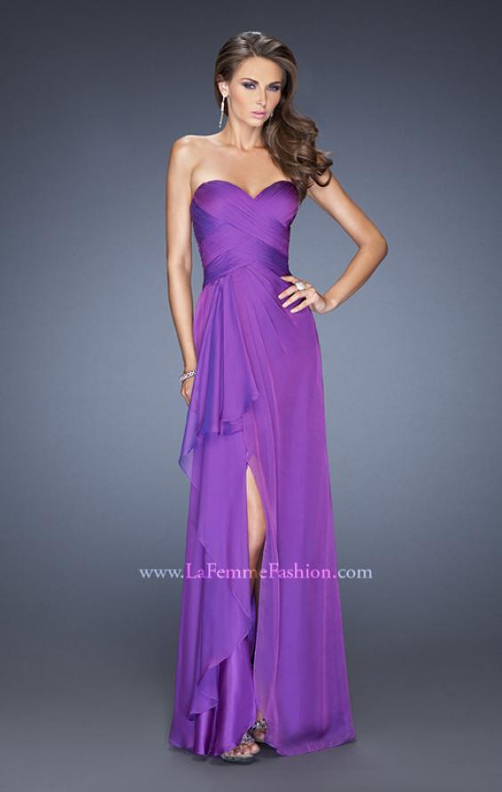 Picture of: Long Strapless Prom Dress with Ruched Bodice and Pearls, Style: 19823, Main Picture