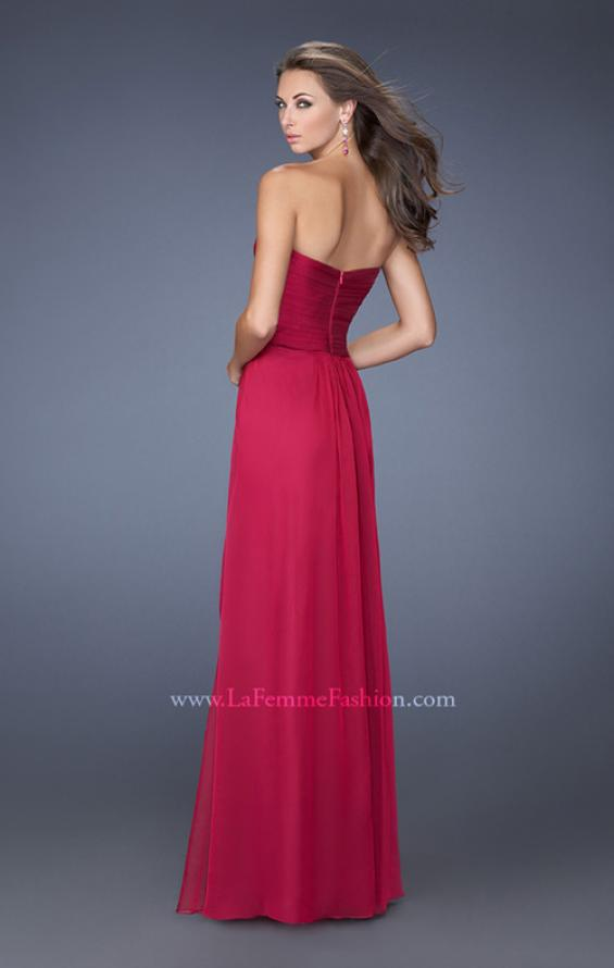 Picture of: Long Strapless Prom Dress with Ruched Bodice and Pearls, Style: 19823, Back Picture
