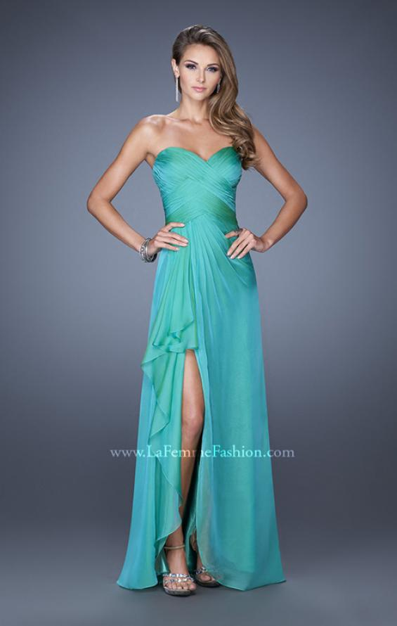 Picture of: Long Strapless Prom Dress with Ruched Bodice and Pearls, Style: 19823, Detail Picture 1