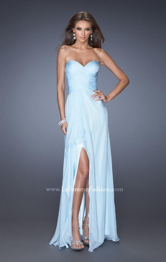 Picture of: Long Strapless Prom Dress with Ruched Bodice and Pearls, Style: 19823, Detail Picture 3