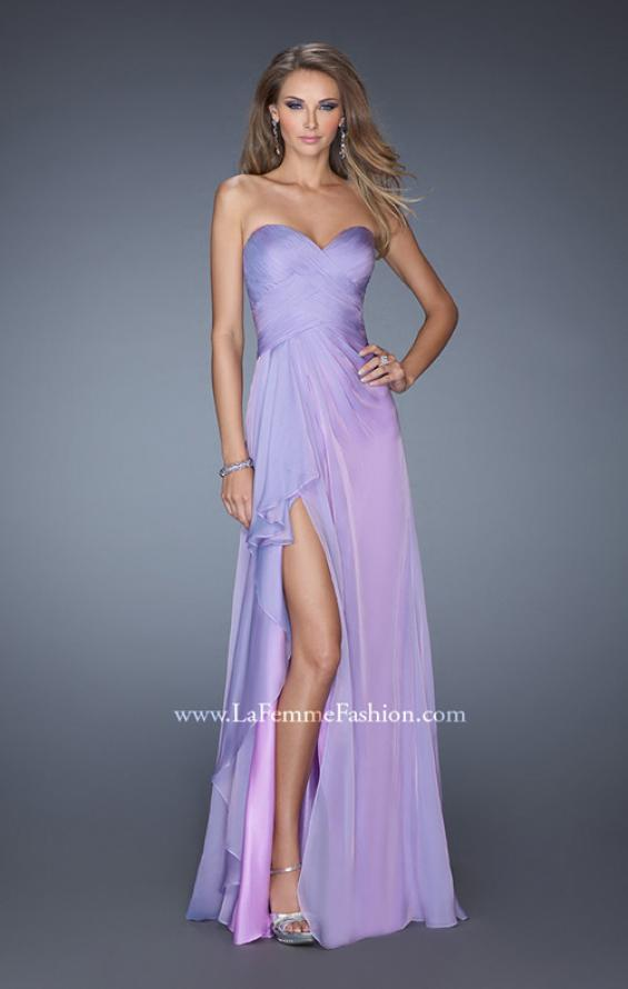 Picture of: Long Strapless Prom Dress with Ruched Bodice and Pearls, Style: 19823, Detail Picture 4