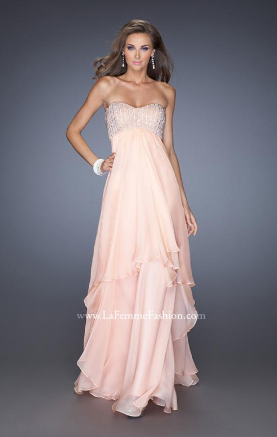 Picture of: Empire Waist Chiffon Gown with Tiered Layered Skirt in Pink, Style: 19831, Main Picture