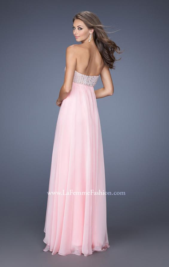 Picture of: Empire Waist Chiffon Gown with Tiered Layered Skirt in Pink, Style: 19831, Back Picture