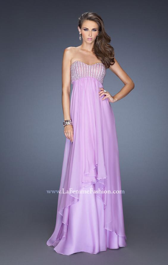Picture of: Empire Waist Chiffon Gown with Tiered Layered Skirt in Purple, Style: 19831, Detail Picture 1