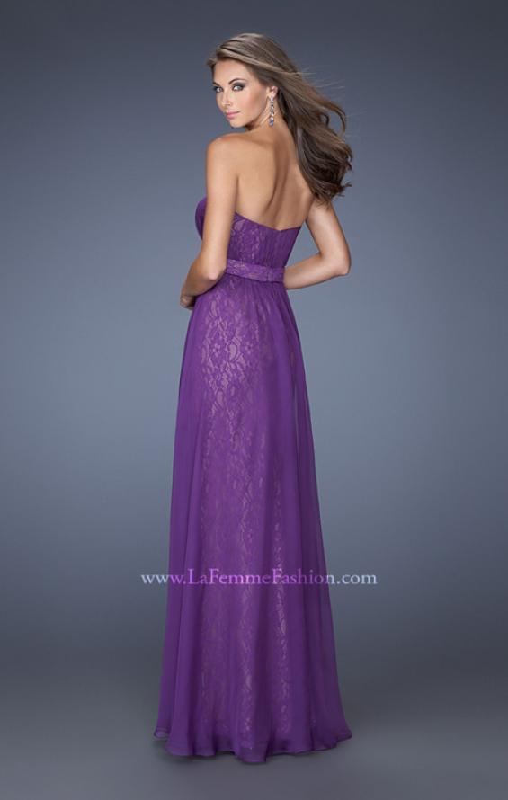 Picture of: Long Lace Prom Gown with Ruched Bodice and Belted Waist, Style: 19833, Back Picture