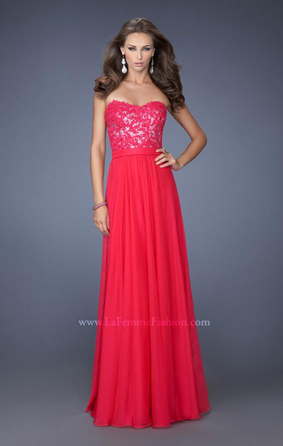 Picture of: Long Chiffon Prom Dress with Sequins and Lace Overlay in Pink, Style: 19834, Main Picture