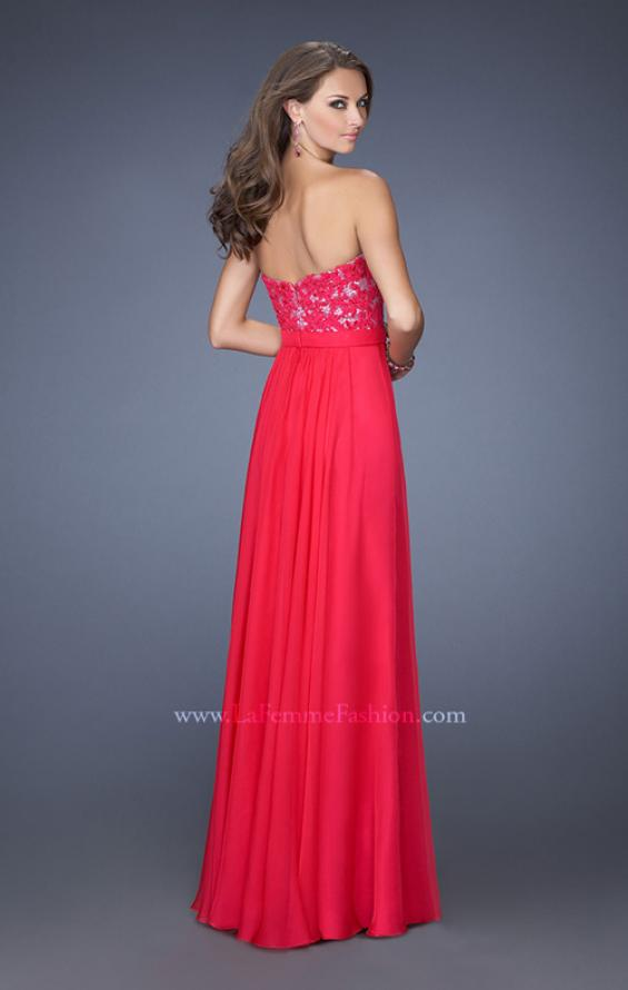 Picture of: Long Chiffon Prom Dress with Sequins and Lace Overlay in Pink, Style: 19834, Back Picture