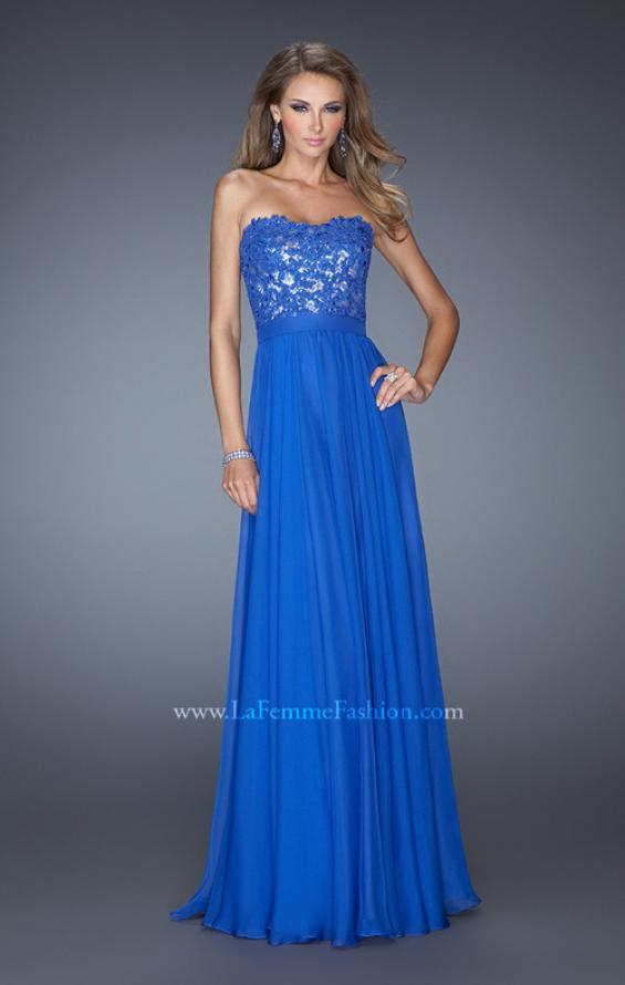 Picture of: Long Chiffon Prom Dress with Sequins and Lace Overlay in Blue, Style: 19834, Detail Picture 1