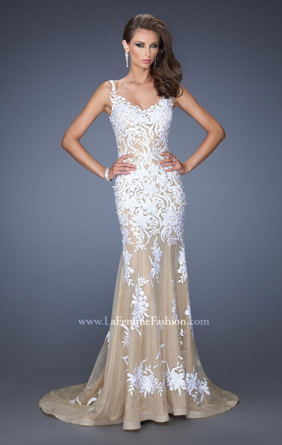 Picture of: Mermaid Style Prom Dress with Thin Straps and Train in White, Style: 19835, Main Picture