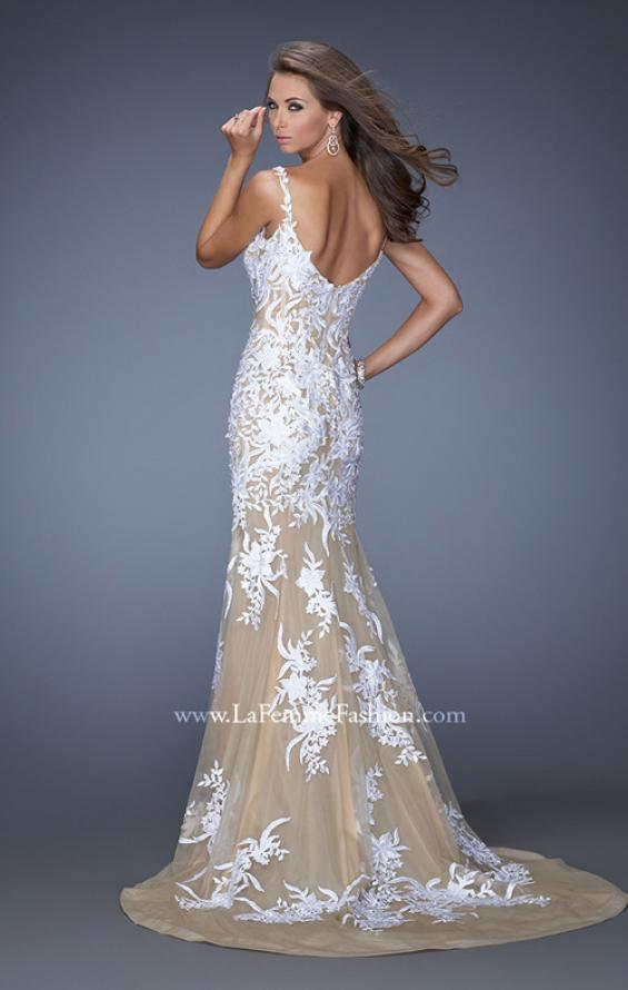 Picture of: Mermaid Style Prom Dress with Thin Straps and Train in White, Style: 19835, Back Picture