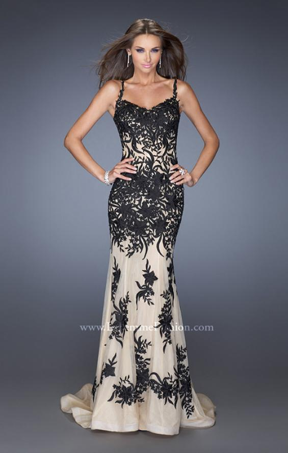 Picture of: Mermaid Style Prom Dress with Thin Straps and Train in Black, Style: 19835, Detail Picture 1
