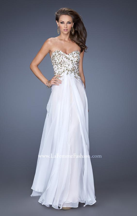Picture of: Long Prom Dress with White and Gold Floral Detail, Style: 19836, Main Picture