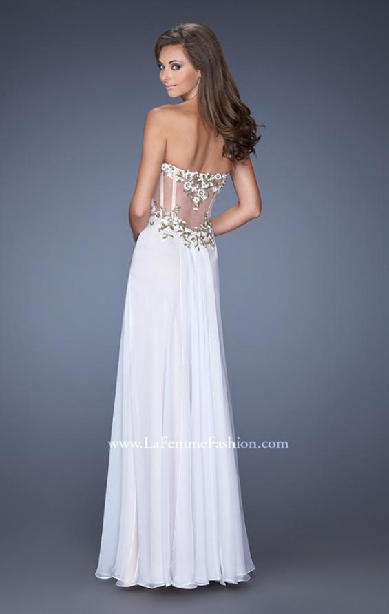 Picture of: Long Prom Dress with White and Gold Floral Detail, Style: 19836, Back Picture