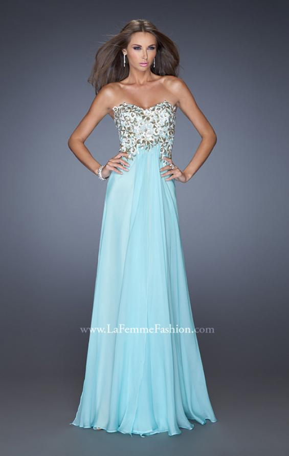Picture of: Long Prom Dress with White and Gold Floral Detail, Style: 19836, Detail Picture 1