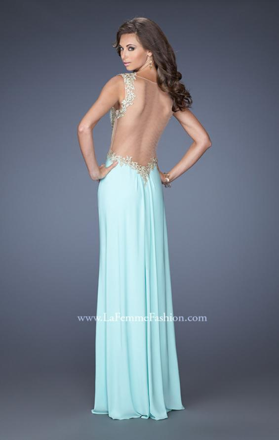 Picture of: Fitted Jersey Dress with Cut Outs, Stones, and Lace, Style: 19838, Back Picture