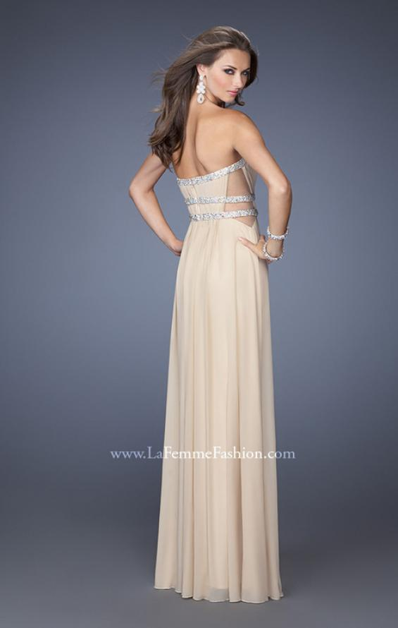Picture of: Jersey Prom Dress with Diamond Cut Outs and Rhinestones in Nude, Style: 19839, Back Picture