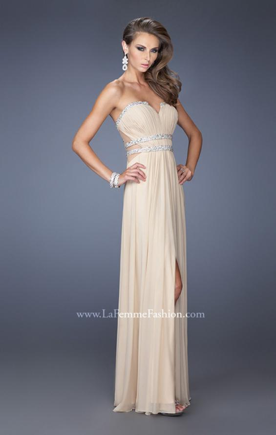 Picture of: Jersey Prom Dress with Diamond Cut Outs and Rhinestones in Nude, Style: 19839, Detail Picture 1