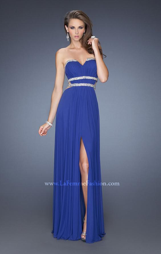 Picture of: Jersey Prom Dress with Diamond Cut Outs and Rhinestones in Blue, Style: 19839, Detail Picture 2