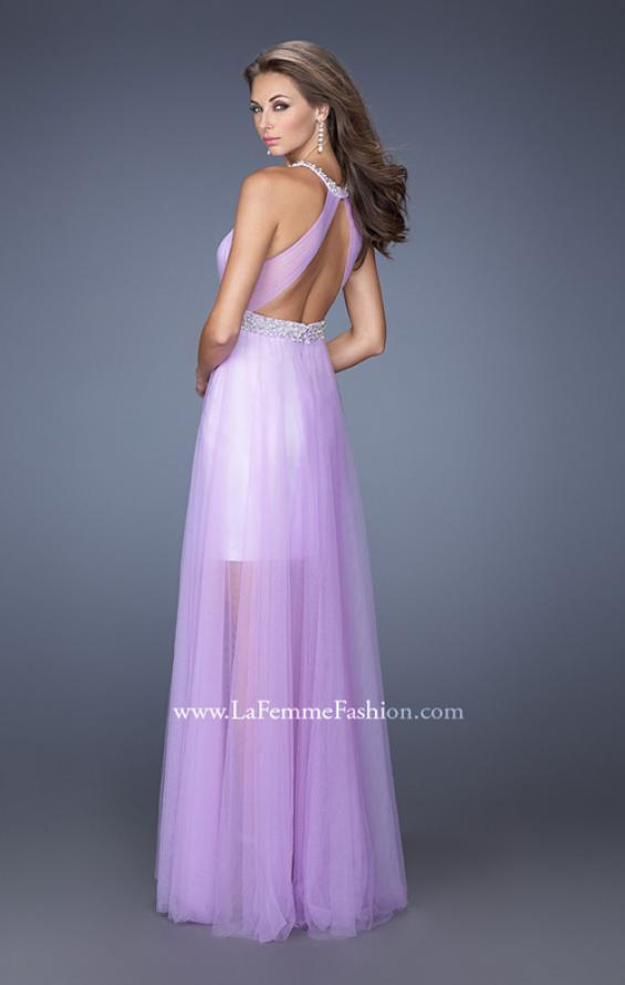 Picture of: Prom Dress with Solid Short Skirt and Sheer Tulle Overlay, Style: 19840, Back Picture