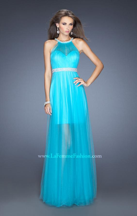 Picture of: Prom Dress with Solid Short Skirt and Sheer Tulle Overlay, Style: 19840, Detail Picture 1