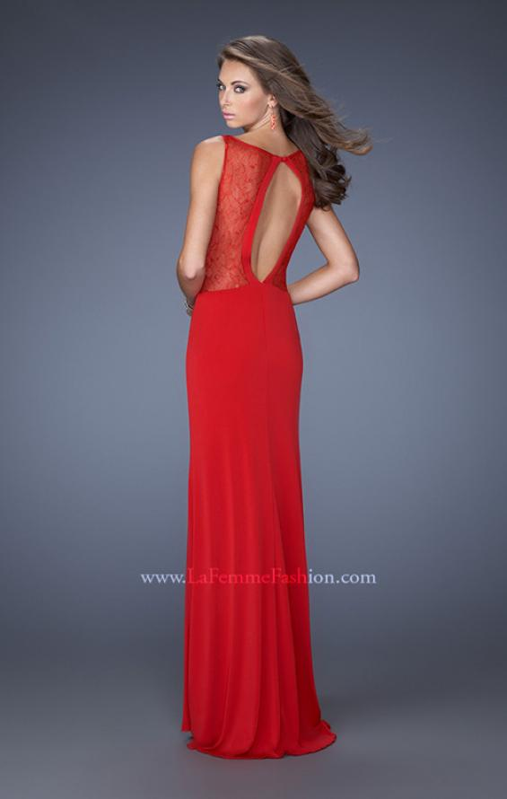 Picture of: Fitted Jersey Dress with High Neckline and Side Slit, Style: 19847, Back Picture
