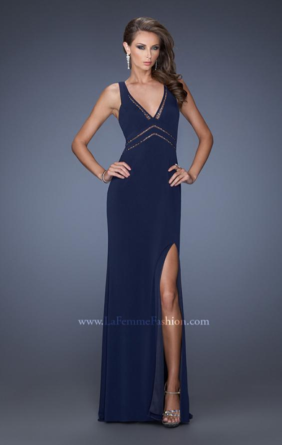 Picture of: Plunging V Neck Prom Dress with Rhinestones and Slit, Style: 19848, Main Picture