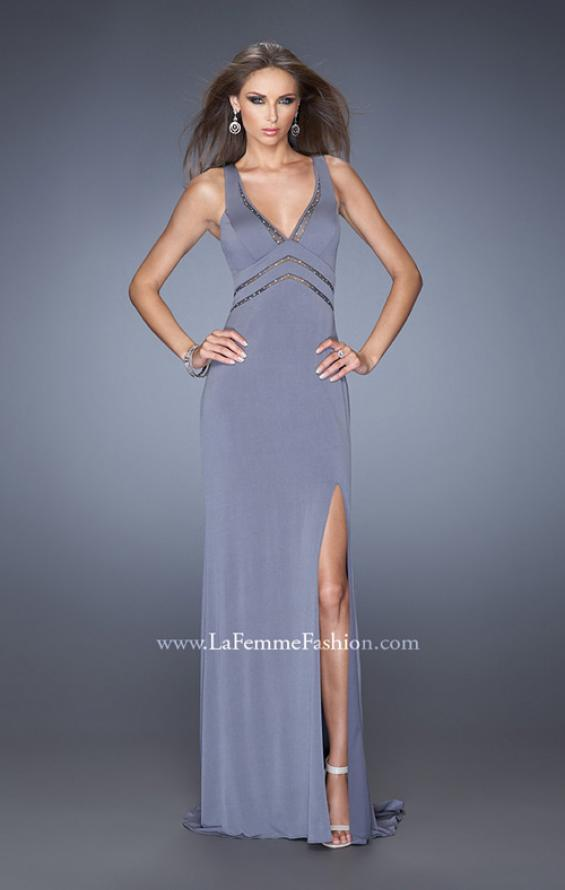 Picture of: Plunging V Neck Prom Dress with Rhinestones and Slit, Style: 19848, Detail Picture 1