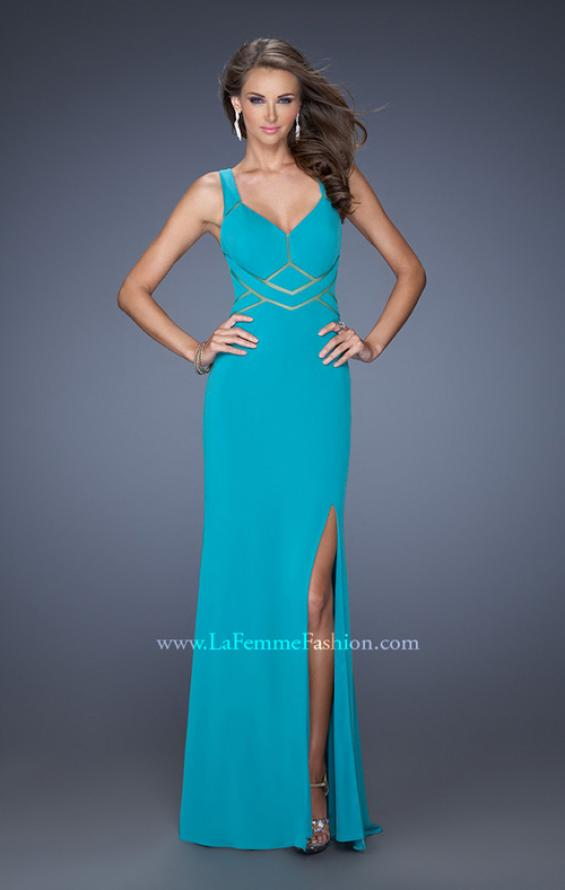 Picture of: Long Jersey Prom Gown with Mesh and a Side Leg Slit in Blue, Style: 19851, Main Picture