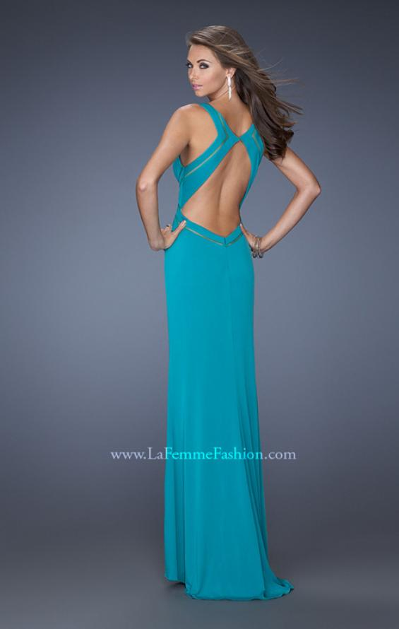 Picture of: Long Jersey Prom Gown with Mesh and a Side Leg Slit in Blue, Style: 19851, Back Picture