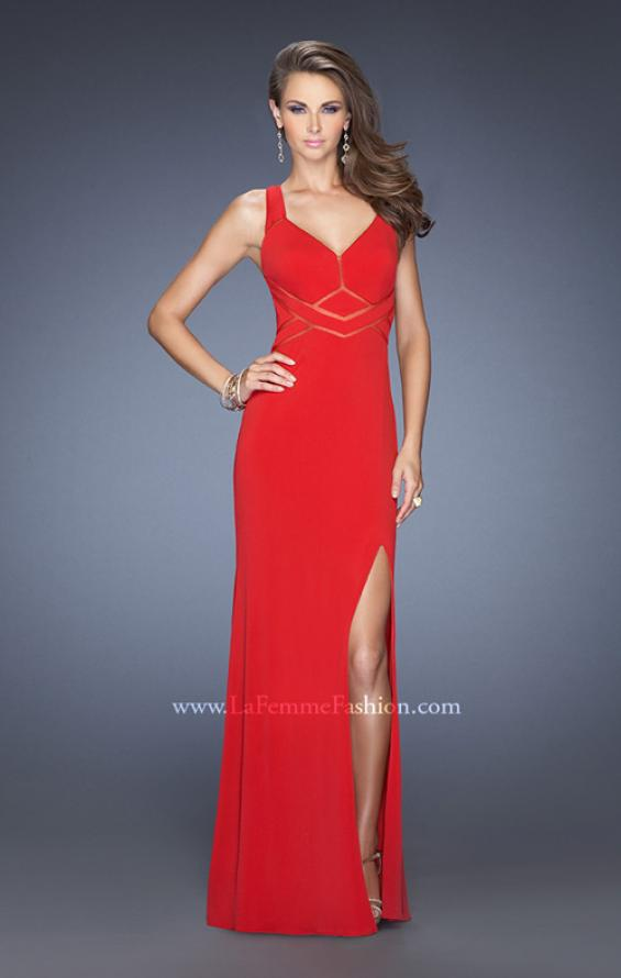 Picture of: Long Jersey Prom Gown with Mesh and a Side Leg Slit in Red, Style: 19851, Detail Picture 1
