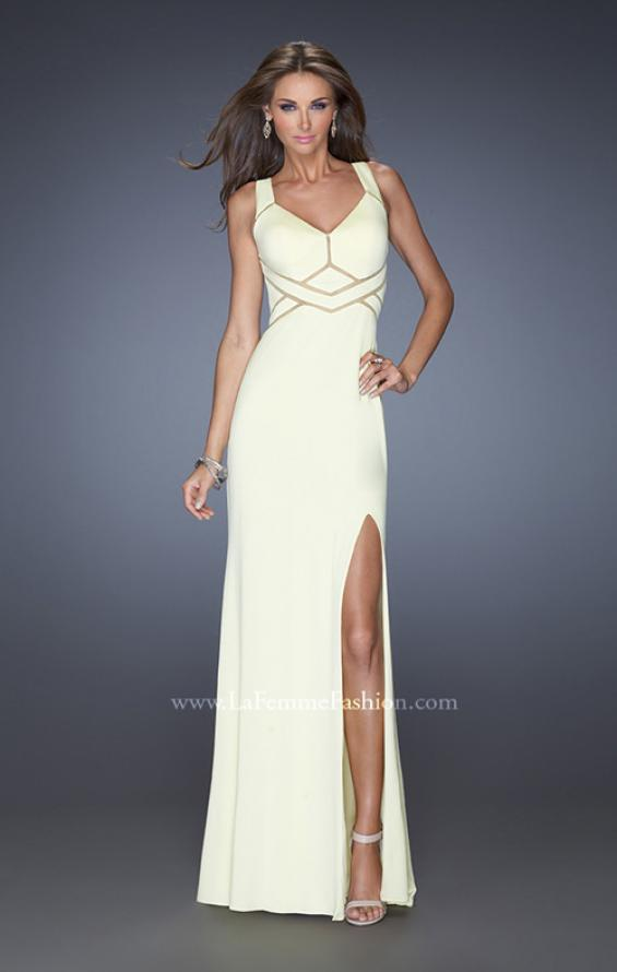 Picture of: Long Jersey Prom Gown with Mesh and a Side Leg Slit in White, Style: 19851, Detail Picture 4