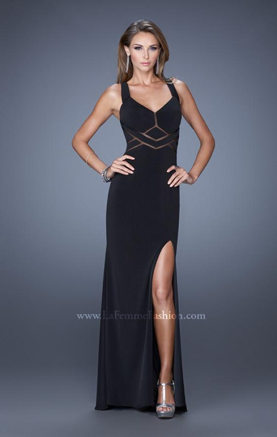 Picture of: Long Jersey Prom Gown with Mesh and a Side Leg Slit in Black, Style: 19851, Detail Picture 5