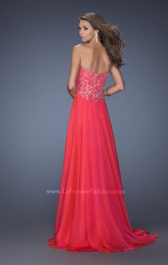Picture of: Long Sweetheart Neckline Prom Gown with Rhinestones in Pink, Style: 19856, Back Picture