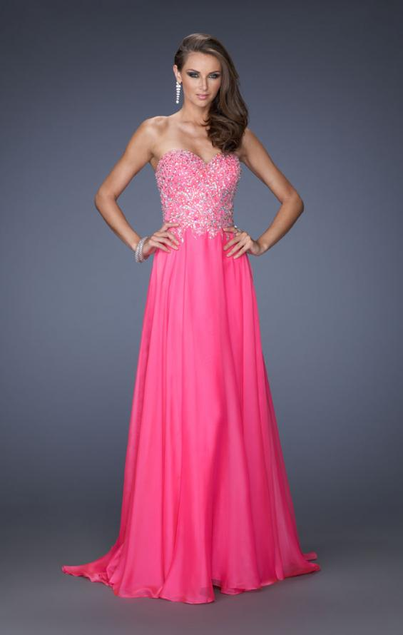 Picture of: Long Sweetheart Neckline Prom Gown with Rhinestones in Pink, Style: 19856, Detail Picture 1