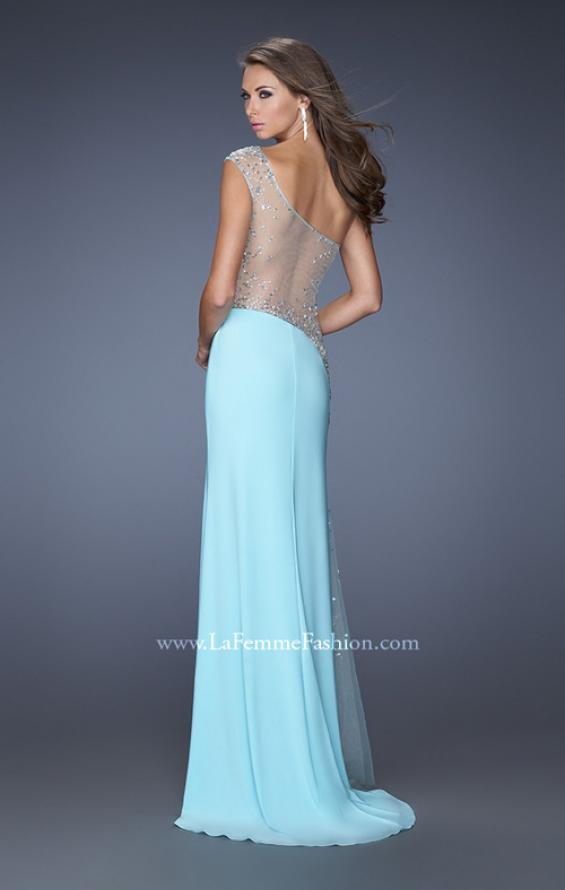 Picture of: Long Prom Dress with Jewel and Beaded Embellishments in Blue, Style: 19867, Detail Picture 2