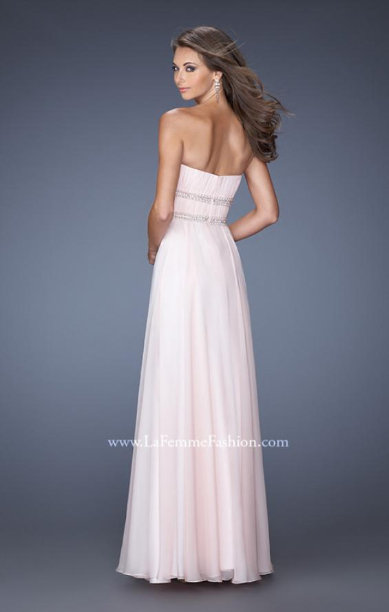 Picture of: Long Strapless Prom Dress with Rhinestone Belts, Style: 19875, Back Picture