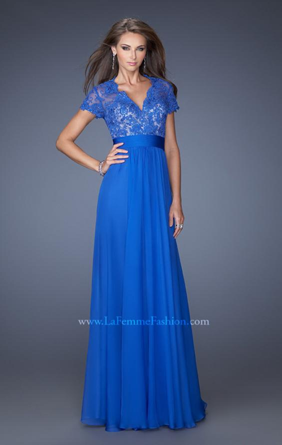 Picture of: A-Line Chiffon Evening Dress with Low V Neckline, Style: 19876, Main Picture