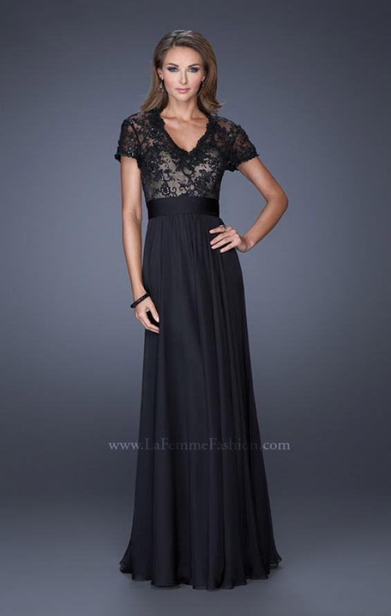Picture of: A-Line Chiffon Evening Dress with Low V Neckline, Style: 19876, Detail Picture 1