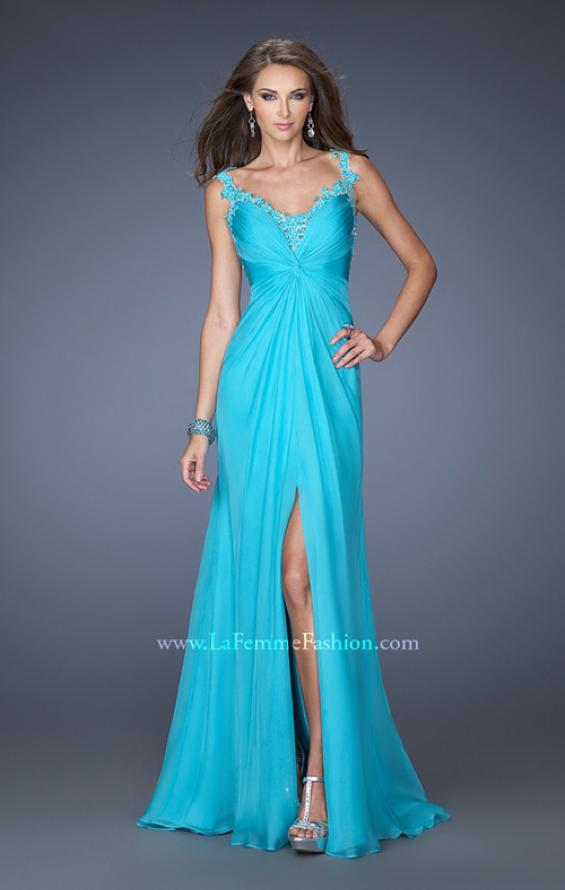 Picture of: Fitted Prom Dress with Ruched Bodice and Center Slit, Style: 19881, Main Picture