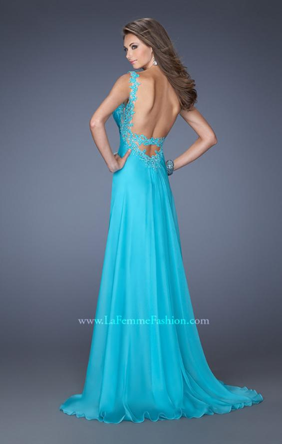 Picture of: Fitted Prom Dress with Ruched Bodice and Center Slit, Style: 19881, Back Picture
