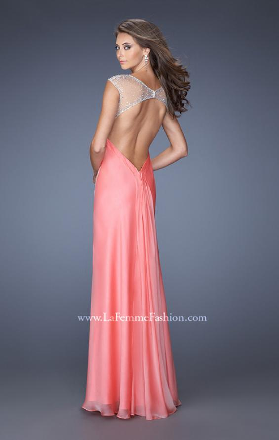 Picture of: Sweetheart Chiffon Gown with Sheer Cap Sleeves and Slit, Style: 19883, Back Picture