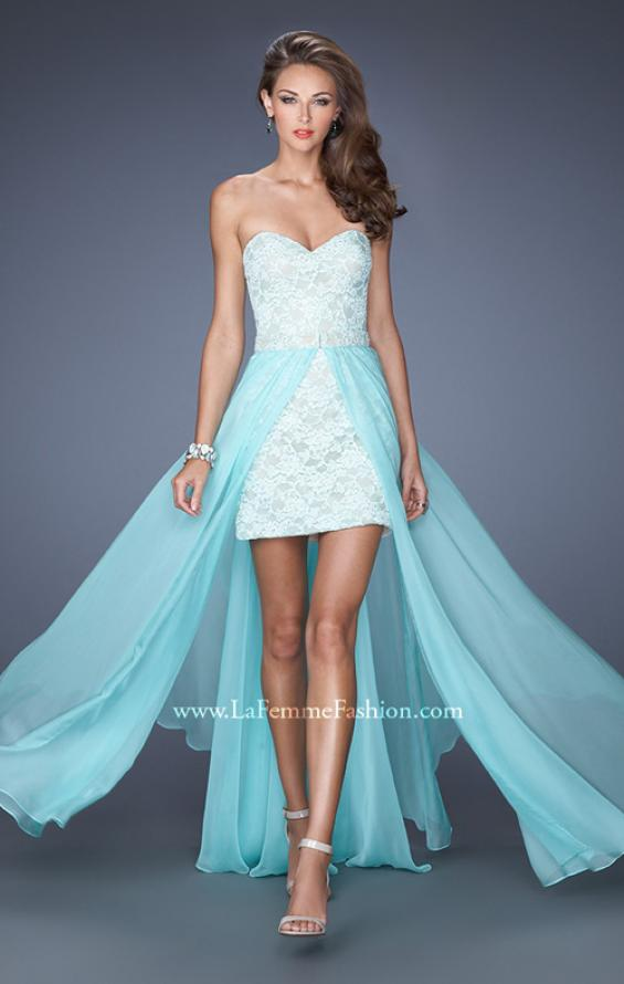 Picture of: Strapless Lace Mini Dress with Detachable Chiffon Skirt in Blue, Style: 19885, Main Picture