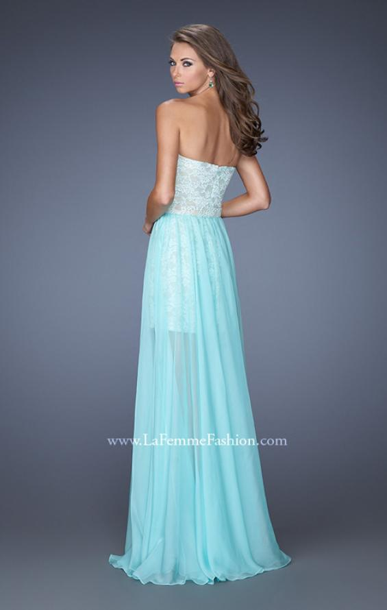 Picture of: Strapless Lace Mini Dress with Detachable Chiffon Skirt in Blue, Style: 19885, Back Picture